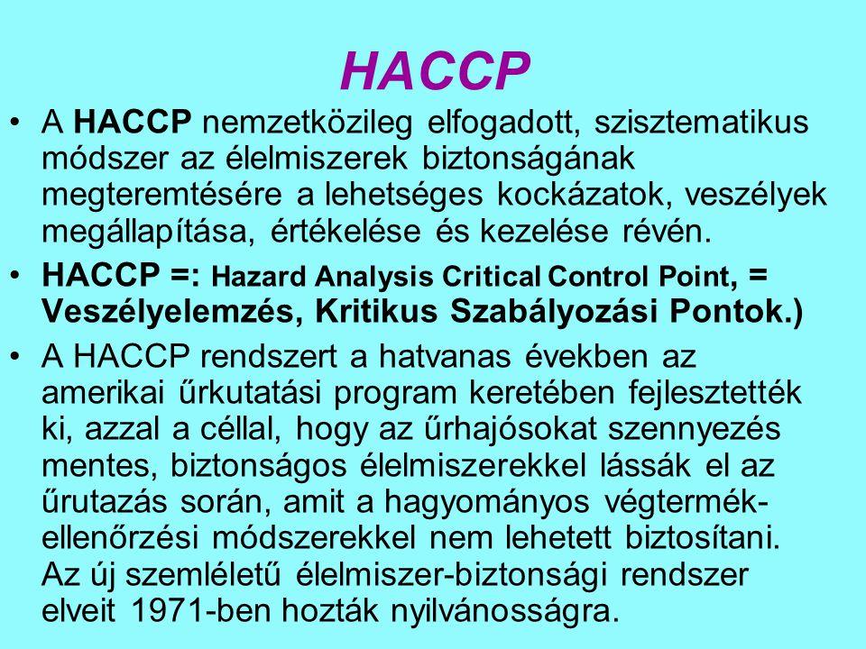 HACCP A HACCP nemzetközileg elfogadott, szisztematikus módszer az élelmiszerek biztonságának megteremtésére a lehetséges kockázatok, veszélyek megállapítása, értékelése és kezelése révén.