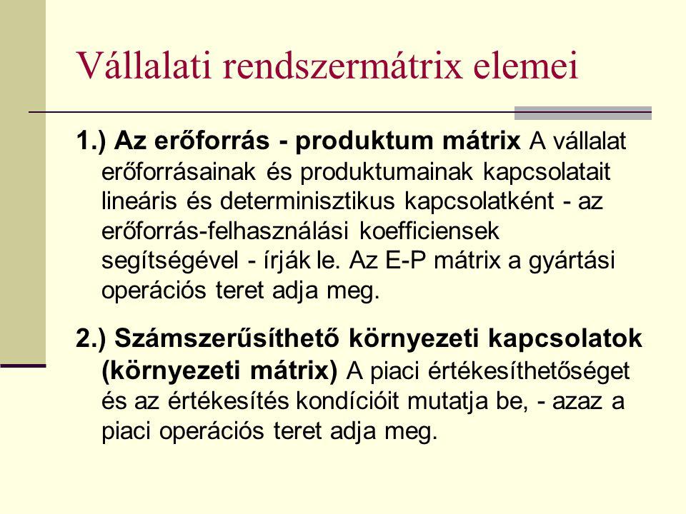 Vállalati rendszermátrix elemei 1.) Az erőforrás - produktum mátrix A vállalat erőforrásainak és produktumainak kapcsolatait lineáris és determiniszti
