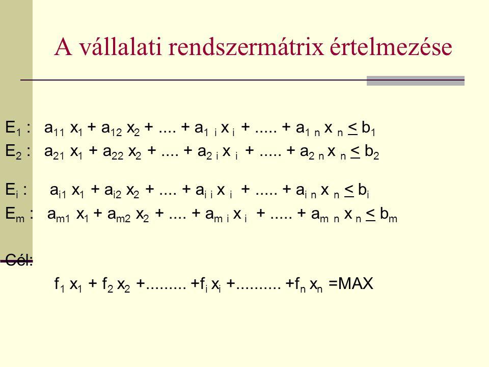 A vállalati rendszermátrix értelmezése E 1 : a 11 x 1 + a 12 x 2 +.... + a 1 i x i +..... + a 1 n x n < b 1 E 2 : a 21 x 1 + a 22 x 2 +.... + a 2 i x