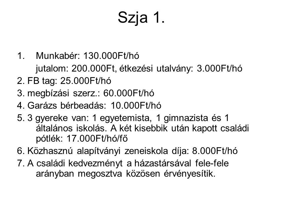 Szja 1. 1.Munkabér: 130.000Ft/hó jutalom: 200.000Ft, étkezési utalvány: 3.000Ft/hó 2.