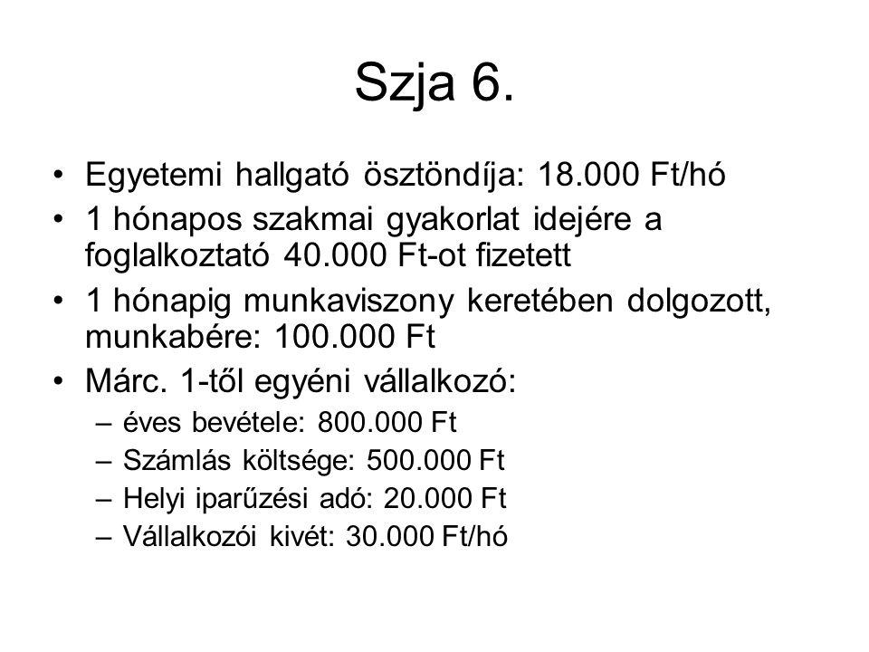 Szja 6. Egyetemi hallgató ösztöndíja: 18.000 Ft/hó 1 hónapos szakmai gyakorlat idejére a foglalkoztató 40.000 Ft-ot fizetett 1 hónapig munkaviszony ke
