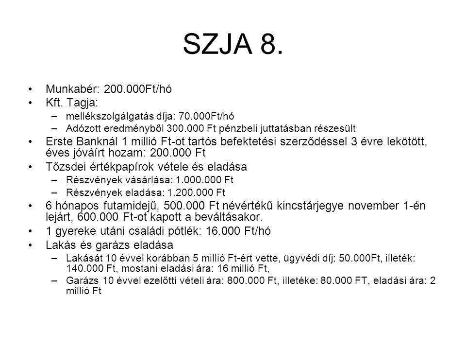 SZJA 8. Munkabér: 200.000Ft/hó Kft. Tagja: –mellékszolgálgatás díja: 70.000Ft/hó –Adózott eredményből 300.000 Ft pénzbeli juttatásban részesült Erste