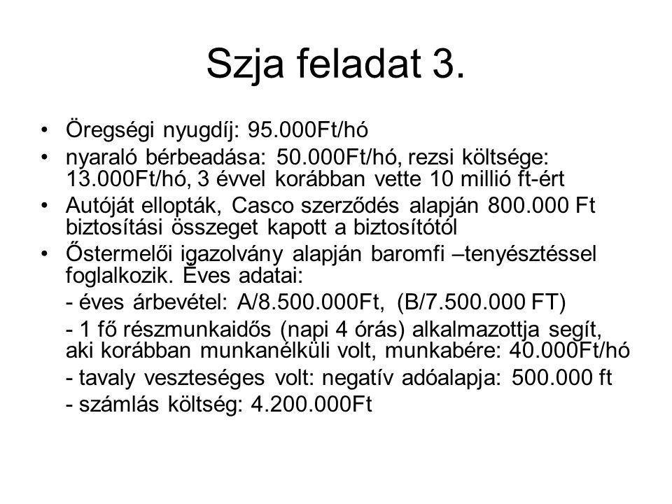 Szja feladat 3. Öregségi nyugdíj: 95.000Ft/hó nyaraló bérbeadása: 50.000Ft/hó, rezsi költsége: 13.000Ft/hó, 3 évvel korábban vette 10 millió ft-ért Au