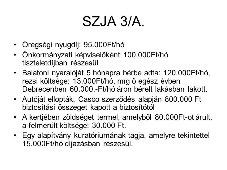 SZJA 3/A. Öregségi nyugdíj: 95.000Ft/hó Önkormányzati képviselőként 100.000Ft/hó tiszteletdíjban részesül Balatoni nyaralóját 5 hónapra bérbe adta: 12