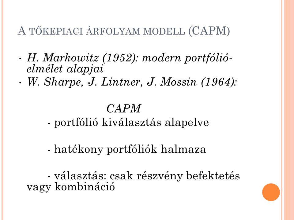 A TŐKEPIACI ÁRFOLYAM MODELL (CAPM) H. Markowitz (1952): modern portfólió- elmélet alapjai W. Sharpe, J. Lintner, J. Mossin (1964): CAPM - portfólió ki