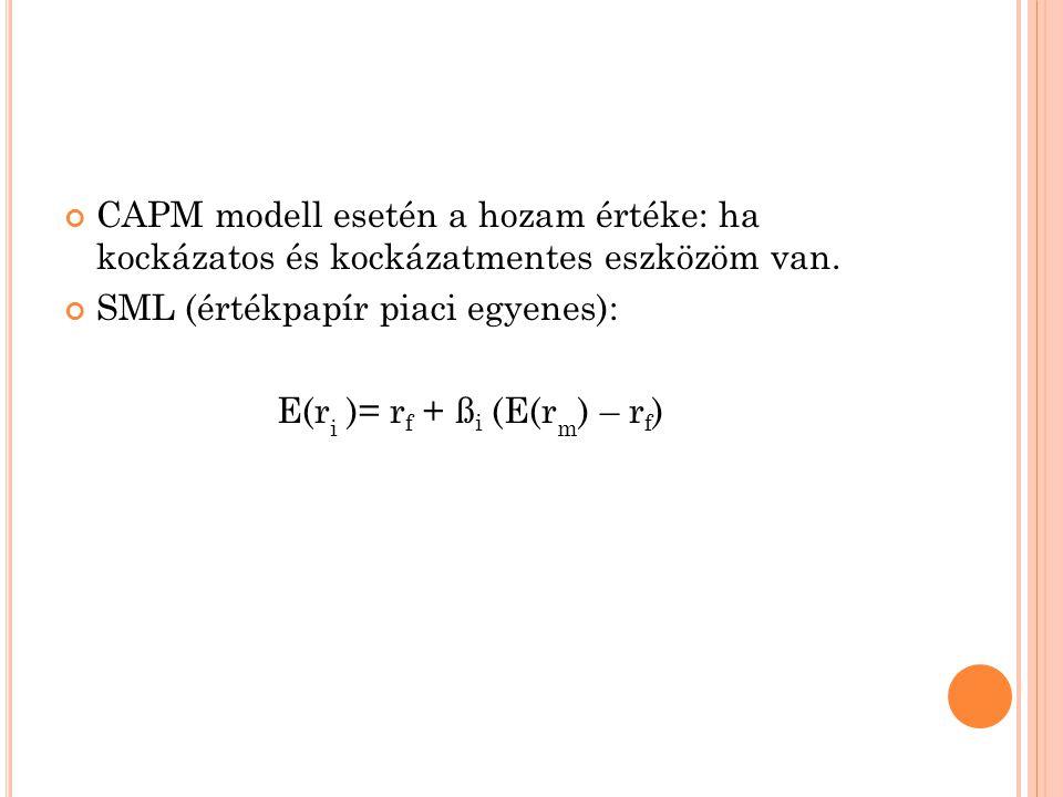 CAPM modell esetén a hozam értéke: ha kockázatos és kockázatmentes eszközöm van. SML (értékpapír piaci egyenes): E(r i )= r f + ß i (E(r m ) – r f )