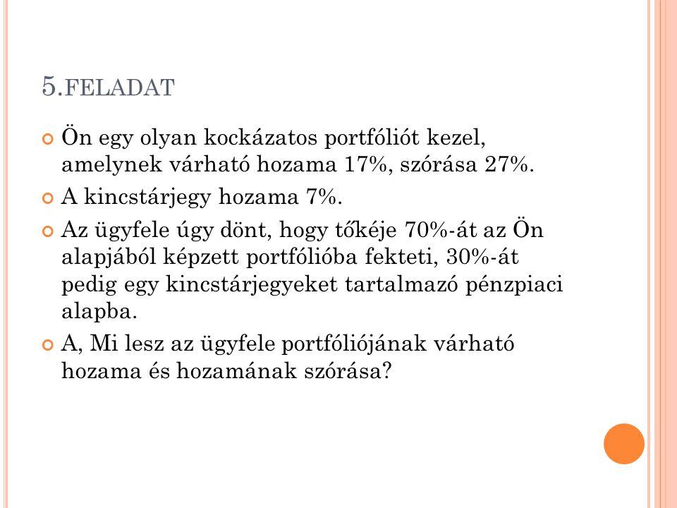 5. FELADAT Ön egy olyan kockázatos portfóliót kezel, amelynek várható hozama 17%, szórása 27%. A kincstárjegy hozama 7%. Az ügyfele úgy dönt, hogy tők