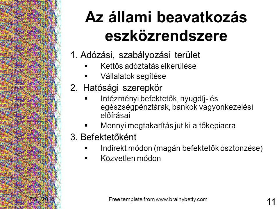 7/31/2014Free template from www.brainybetty.com 11 Az állami beavatkozás eszközrendszere 1. Adózási, szabályozási terület  Kettős adóztatás elkerülés