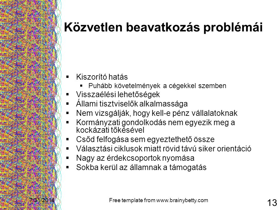 7/31/2014Free template from www.brainybetty.com 13 Közvetlen beavatkozás problémái  Kiszorító hatás  Puhább követelmények a cégekkel szemben  Vissz