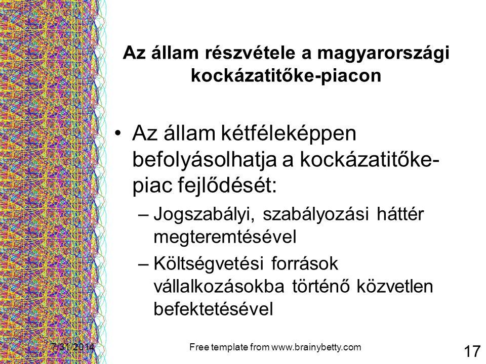7/31/2014Free template from www.brainybetty.com 17 Az állam részvétele a magyarországi kockázatitőke-piacon Az állam kétféleképpen befolyásolhatja a k