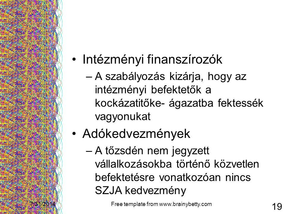 7/31/2014Free template from www.brainybetty.com 19 Intézményi finanszírozók –A szabályozás kizárja, hogy az intézményi befektetők a kockázatitőke- ága