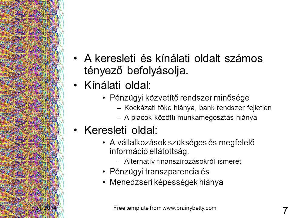 7/31/2014Free template from www.brainybetty.com 18 Jogszabályi háttér- 1998 Törvény, amely létrehozta a kockázatitőke-alap jogi formáját Szabályozták: –az alapításkori tőkekövetelményt –a teljes befektetésre szánt összeg alapításkori befizetését –Adómentességet is biztosít Hatástalan marad