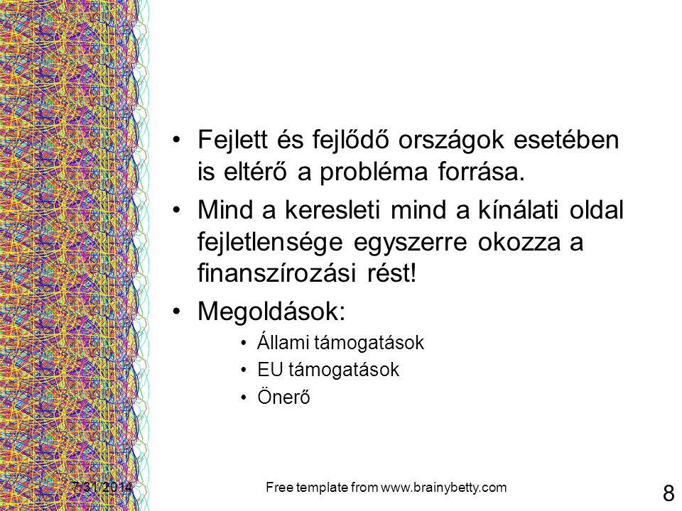 7/31/2014Free template from www.brainybetty.com 8 Fejlett és fejlődő országok esetében is eltérő a probléma forrása. Mind a keresleti mind a kínálati