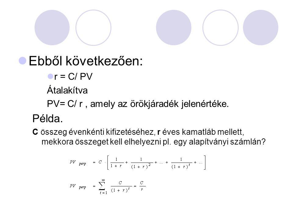 Ebből következően: r = C/ PV Átalakítva PV= C/ r, amely az örökjáradék jelenértéke.