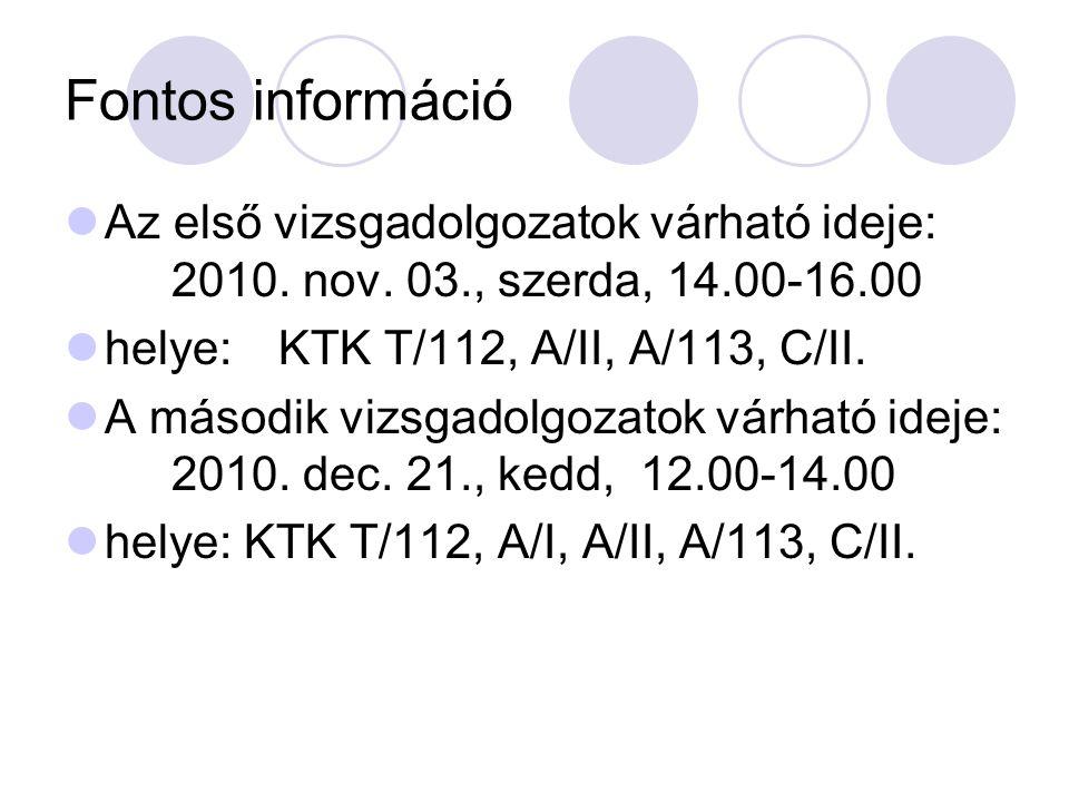 Fontos információ Az első vizsgadolgozatok várható ideje: 2010.