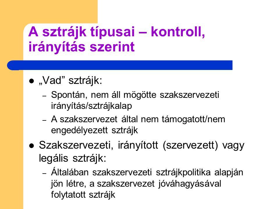 """A sztrájk típusai – kontroll, irányítás szerint """"Vad"""" sztrájk: – Spontán, nem áll mögötte szakszervezeti irányítás/sztrájkalap – A szakszervezet által"""