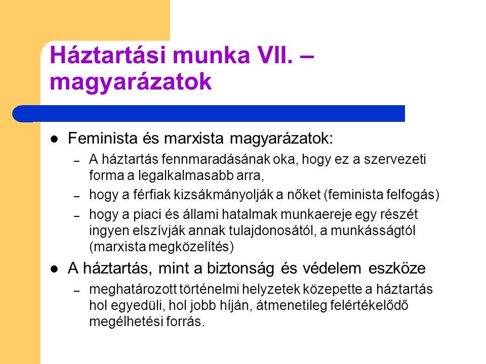 Feminista és marxista magyarázatok: – A háztartás fennmaradásának oka, hogy ez a szervezeti forma a legalkalmasabb arra, – hogy a férfiak kizsákmányolják a nőket (feminista felfogás) – hogy a piaci és állami hatalmak munkaereje egy részét ingyen elszívják annak tulajdonosától, a munkásságtól (marxista megközelítés) A háztartás, mint a biztonság és védelem eszköze – meghatározott történelmi helyzetek közepette a háztartás hol egyedüli, hol jobb híján, átmenetileg felértékelődő megélhetési forrás.