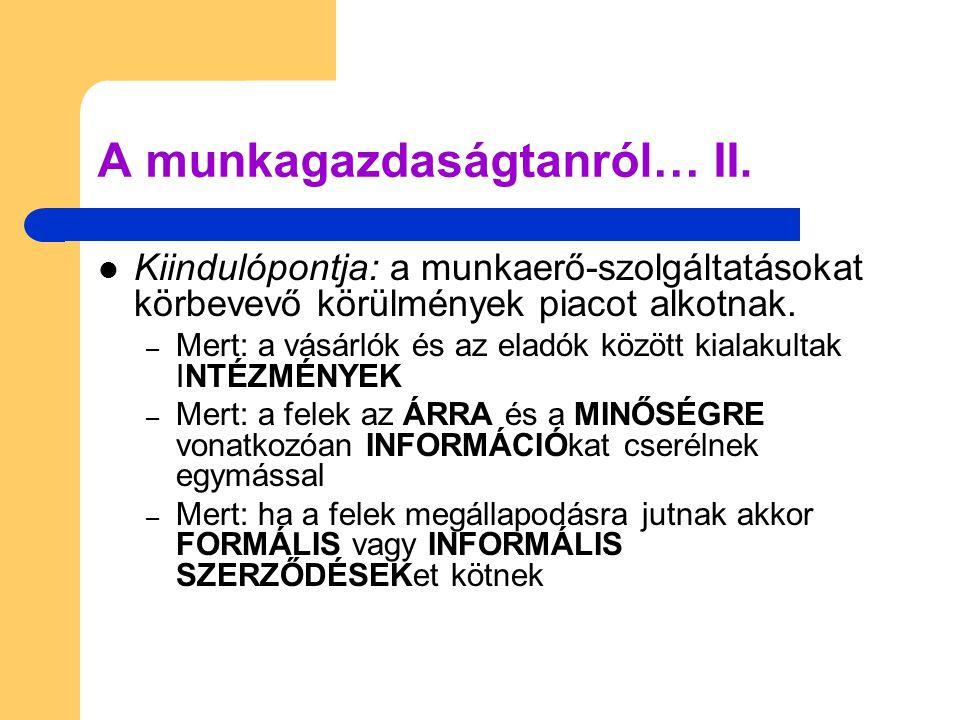 Ajánlott irodalmak: Méhi, J.– Walz, G (1993): A munkatudomány alapjai.