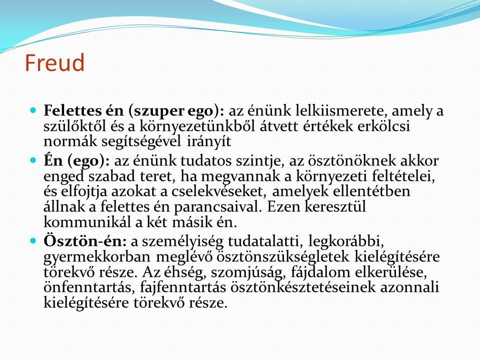 Freud Felettes én (szuper ego): az énünk lelkiismerete, amely a szülőktől és a környezetünkből átvett értékek erkölcsi normák segítségével irányít Én