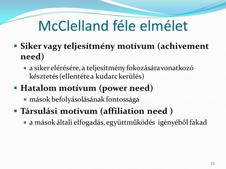 McClelland féle elmélet  Siker vagy teljesítmény motívum (achivement need) a siker elérésére, a teljesítmény fokozására vonatkozó késztetés (ellentéte a kudarc kerülés)  Hatalom motívum (power need) mások befolyásolásának fontossága  Társulási motívum (affiliation need ) a mások általi elfogadás, együttműködés igényéből fakad 10