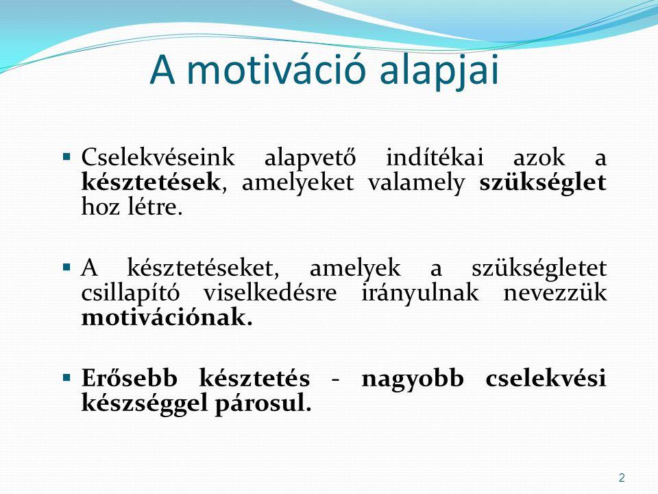 A motiváció alapjai  Cselekvéseink alapvető indítékai azok a késztetések, amelyeket valamely szükséglet hoz létre.