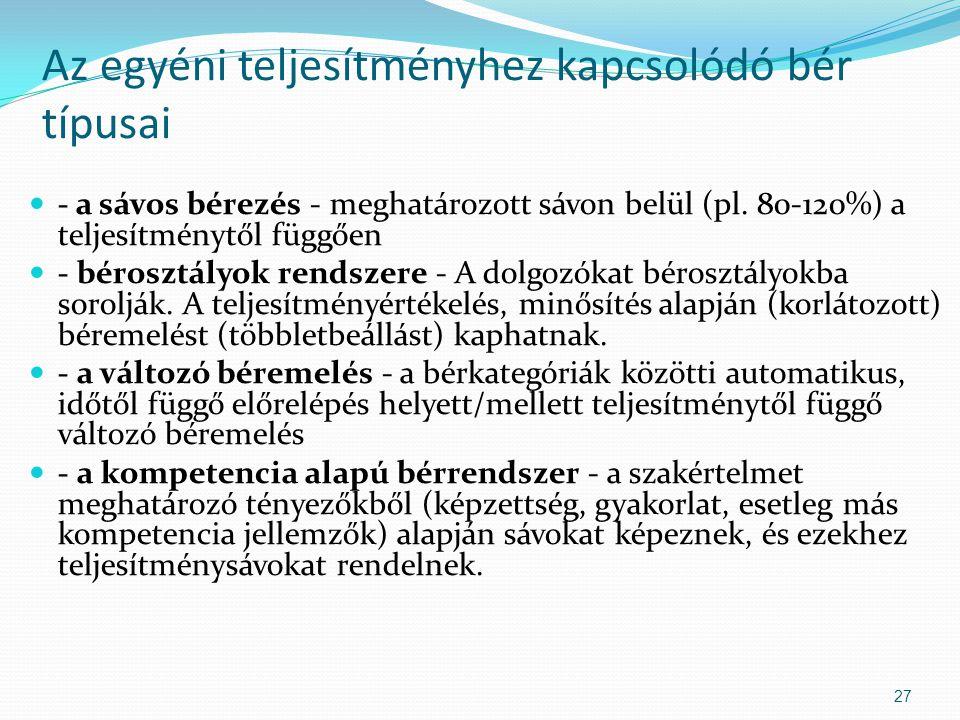 Az egyéni teljesítményhez kapcsolódó bér típusai - a sávos bérezés - meghatározott sávon belül (pl.