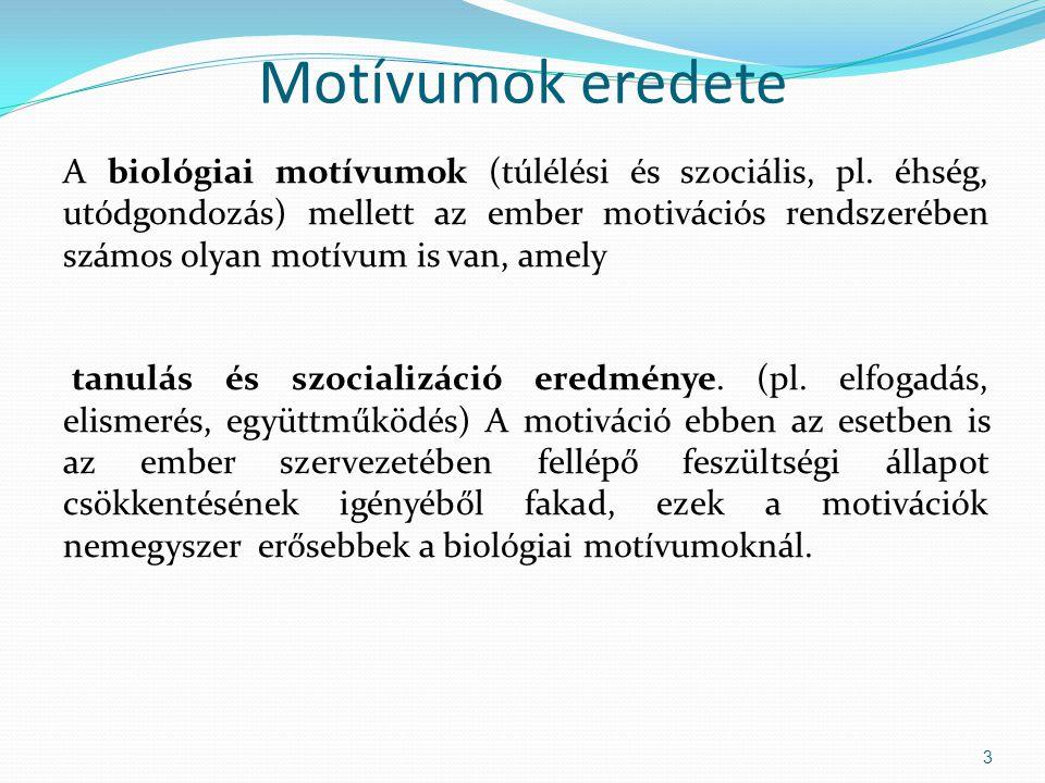 Motívumok eredete A biológiai motívumok (túlélési és szociális, pl.