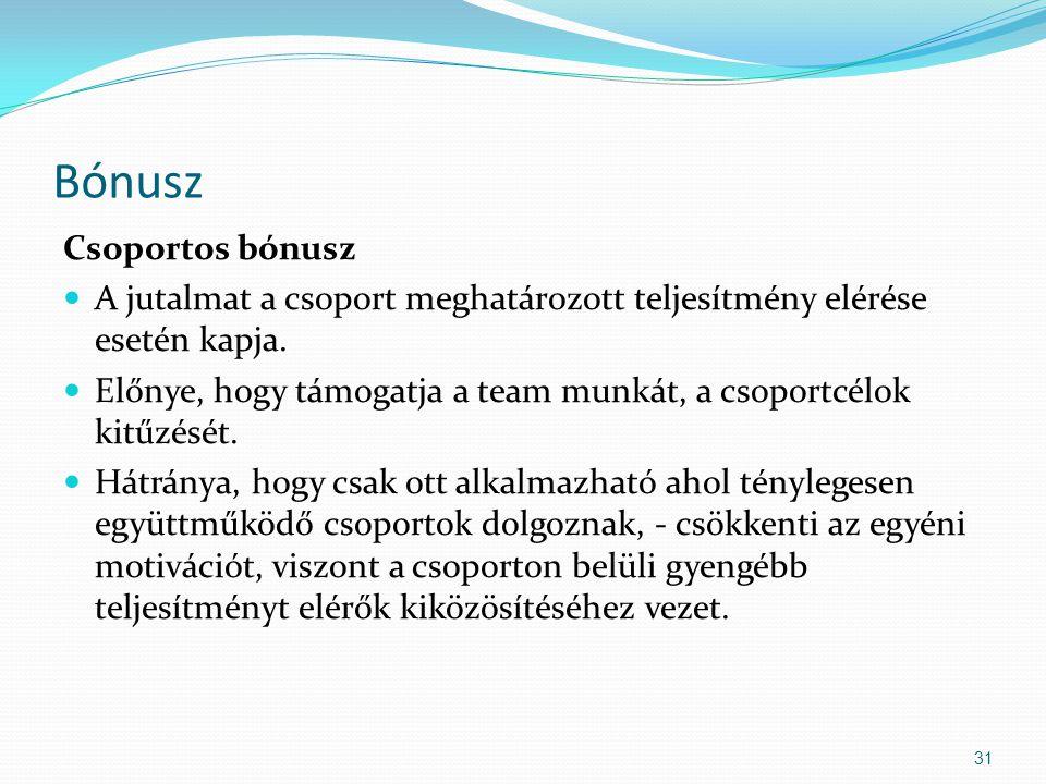 Bónusz Csoportos bónusz A jutalmat a csoport meghatározott teljesítmény elérése esetén kapja.