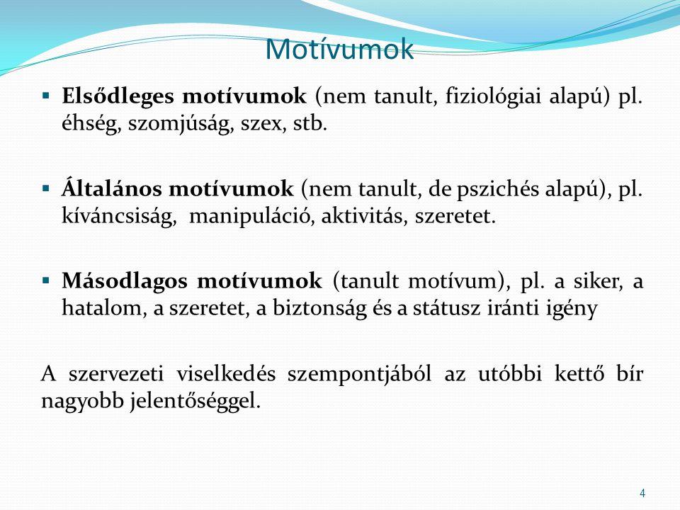 Motívumok  Elsődleges motívumok (nem tanult, fiziológiai alapú) pl.