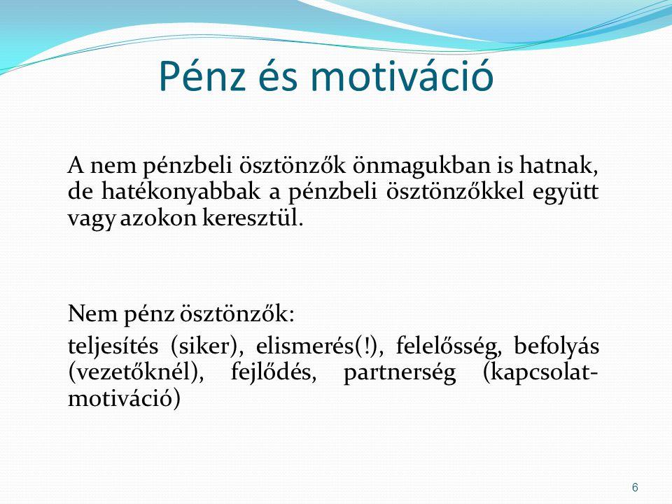 Pénz és motiváció A nem pénzbeli ösztönzők önmagukban is hatnak, de hatékonyabbak a pénzbeli ösztönzőkkel együtt vagy azokon keresztül.