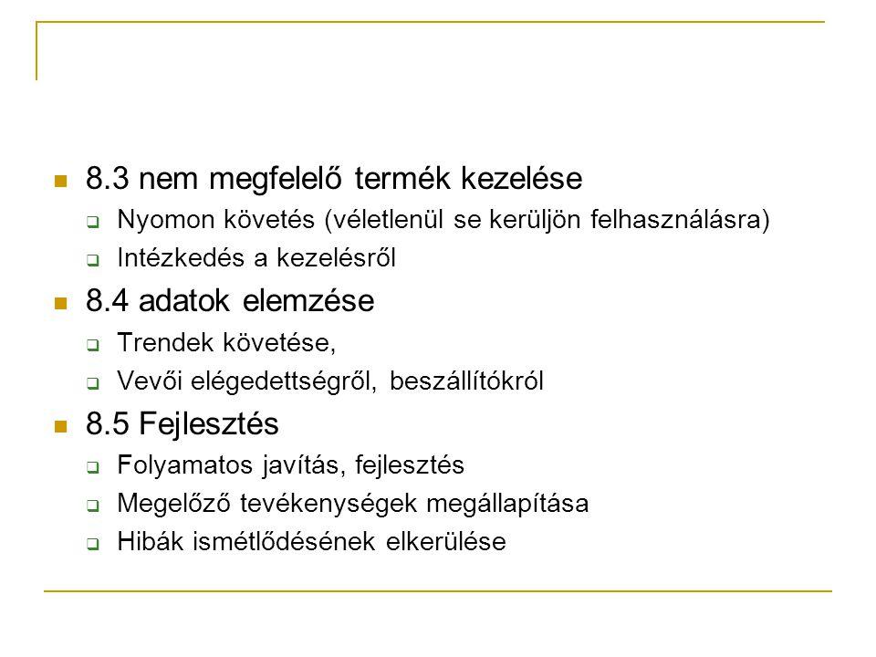8.3 nem megfelelő termék kezelése  Nyomon követés (véletlenül se kerüljön felhasználásra)  Intézkedés a kezelésről 8.4 adatok elemzése  Trendek köv