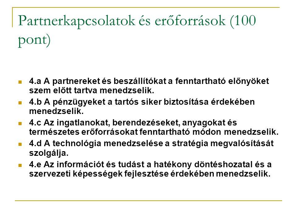 Partnerkapcsolatok és erőforrások (100 pont) 4.a A partnereket és beszállítókat a fenntartható előnyöket szem előtt tartva menedzselik. 4.b A pénzügye