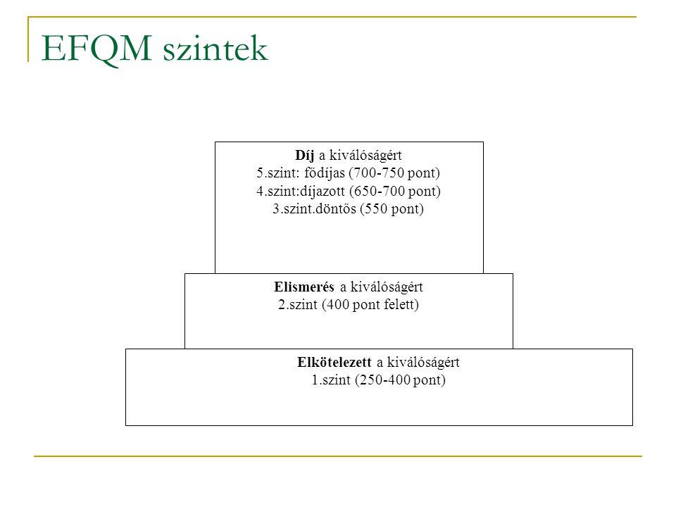 EFQM szintek Elkötelezett a kiválóságért 1.szint (250-400 pont) Elismerés a kiválóságért 2.szint (400 pont felett) Díj a kiválóságért 5.szint: fődíjas