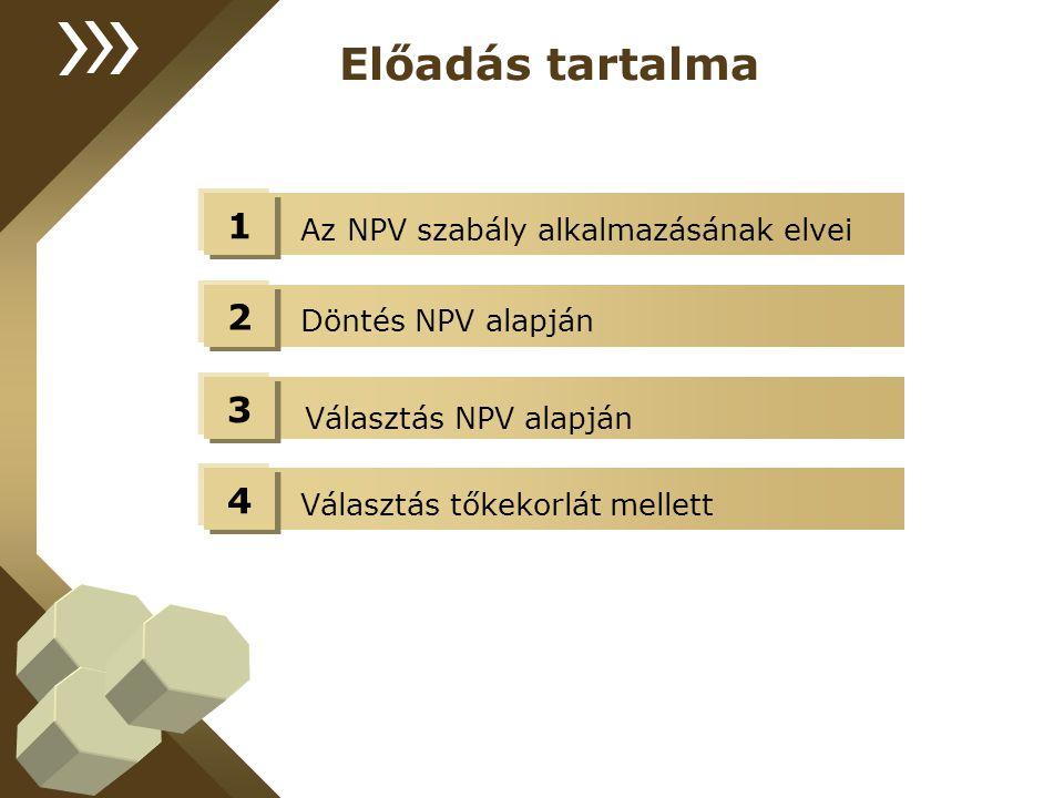 Az NPV szabály alkalmazásának elvei Előadás tartalma 1 Döntés NPV alapján 2 Választás NPV alapján 3 Választás tőkekorlát mellett 4