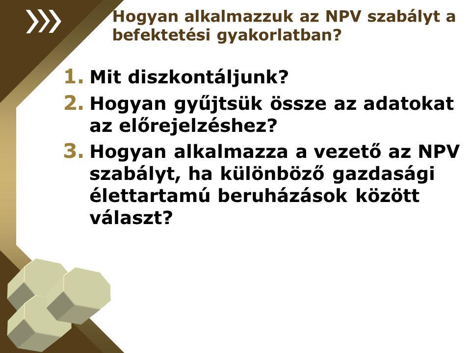 Hogyan alkalmazzuk az NPV szabályt a befektetési gyakorlatban.