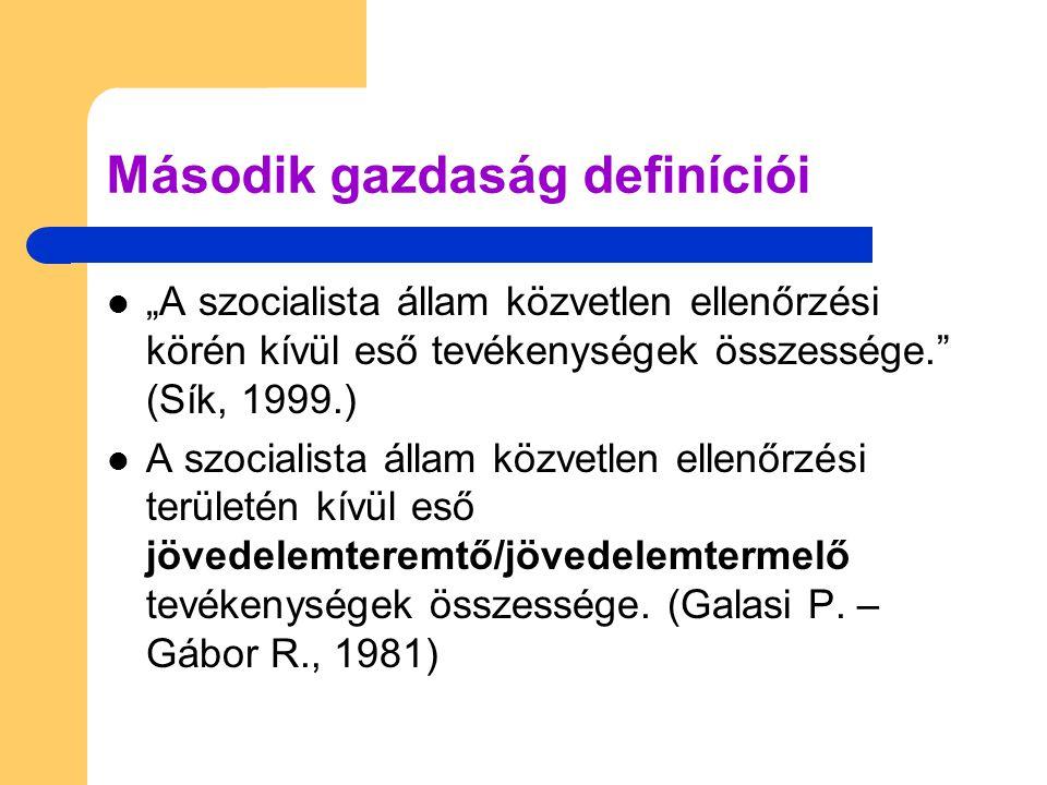 """Második gazdaság definíciói """"A szocialista állam közvetlen ellenőrzési körén kívül eső tevékenységek összessége. (Sík, 1999.) A szocialista állam közvetlen ellenőrzési területén kívül eső jövedelemteremtő/jövedelemtermelő tevékenységek összessége."""