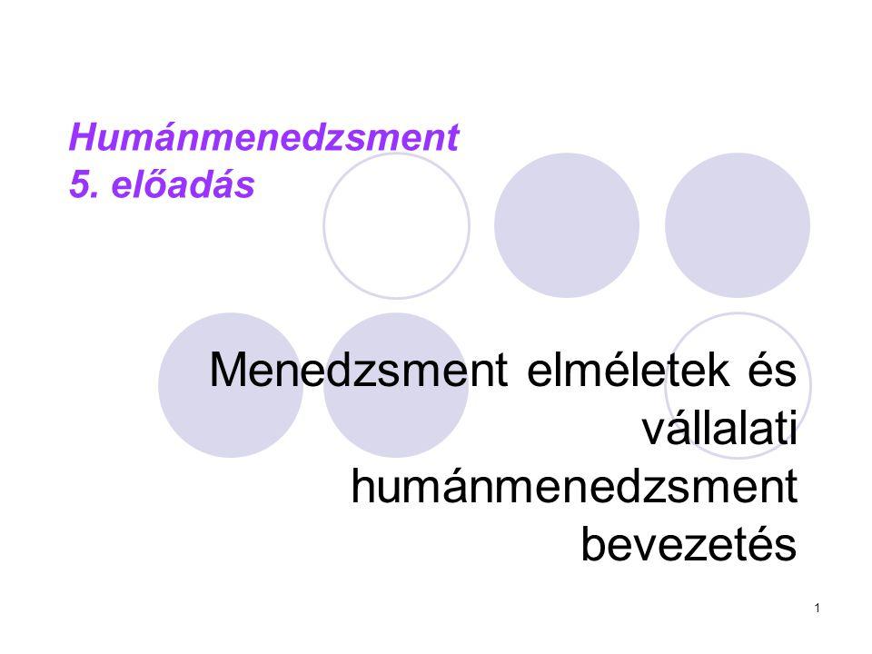 1 Humánmenedzsment 5. előadás Menedzsment elméletek és vállalati humánmenedzsment bevezetés