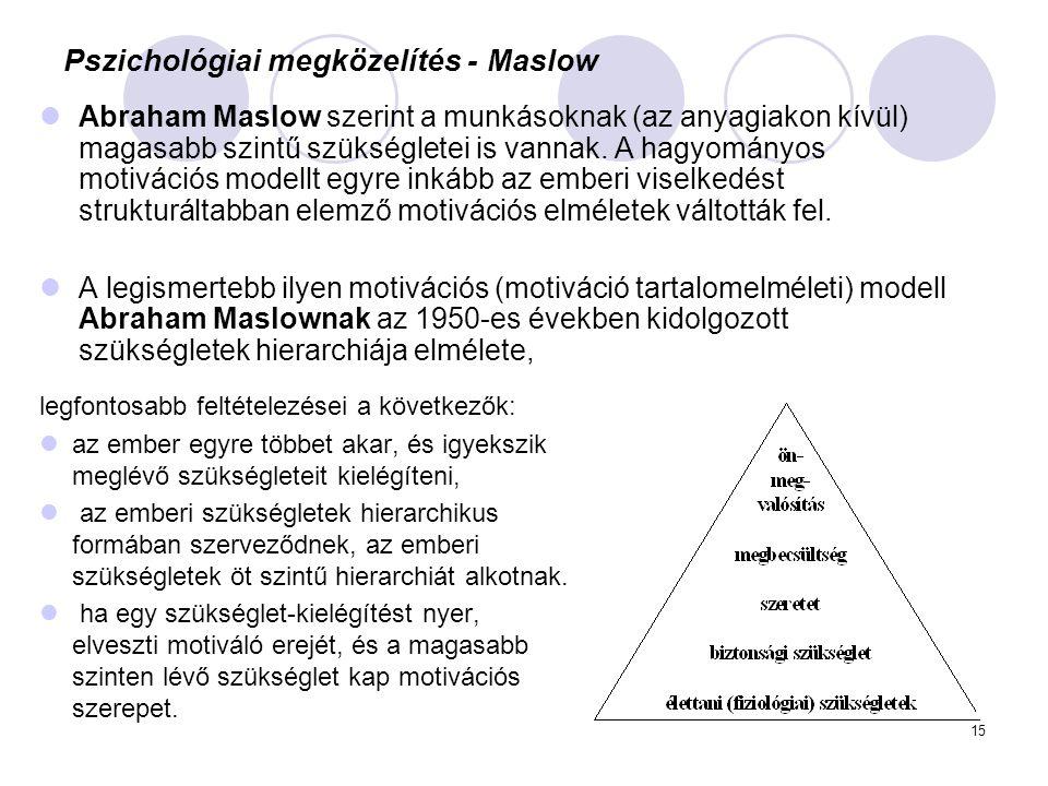 15 Pszichológiai megközelítés - Maslow legfontosabb feltételezései a következők: az ember egyre többet akar, és igyekszik meglévő szükségleteit kielég
