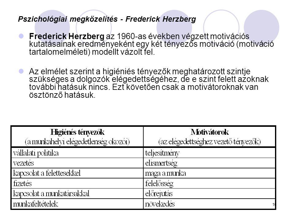 16 Pszichológiai megközelítés - Frederick Herzberg Frederick Herzberg az 1960-as években végzett motivációs kutatásainak eredményeként egy két tényező