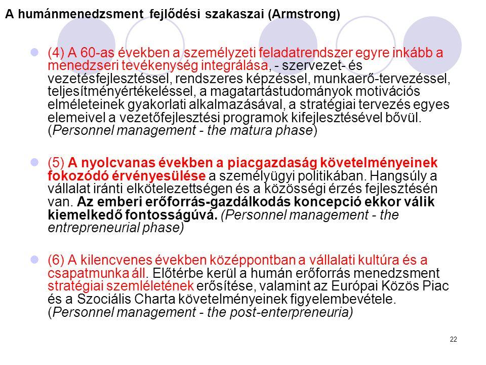 22 A humánmenedzsment fejlődési szakaszai (Armstrong) (4) A 60-as években a személyzeti feladatrendszer egyre inkább a menedzseri tevékenység integrál