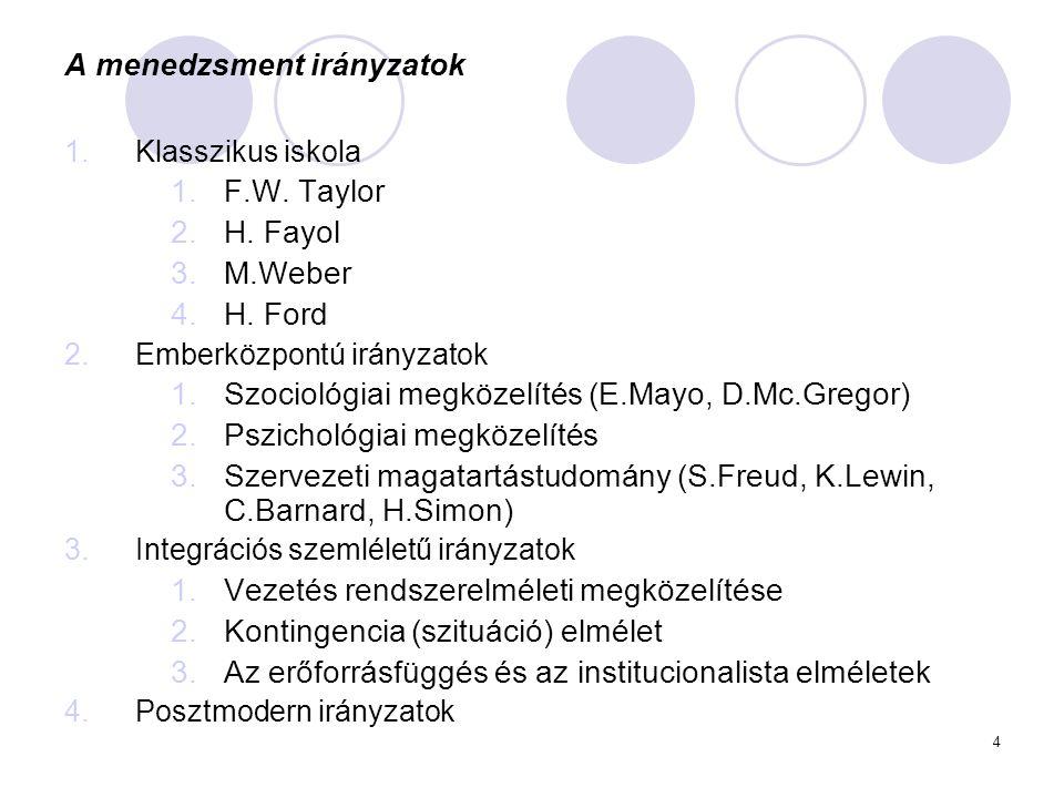 4 A menedzsment irányzatok 1.Klasszikus iskola 1.F.W. Taylor 2.H. Fayol 3.M.Weber 4.H. Ford 2.Emberközpontú irányzatok 1.Szociológiai megközelítés (E.