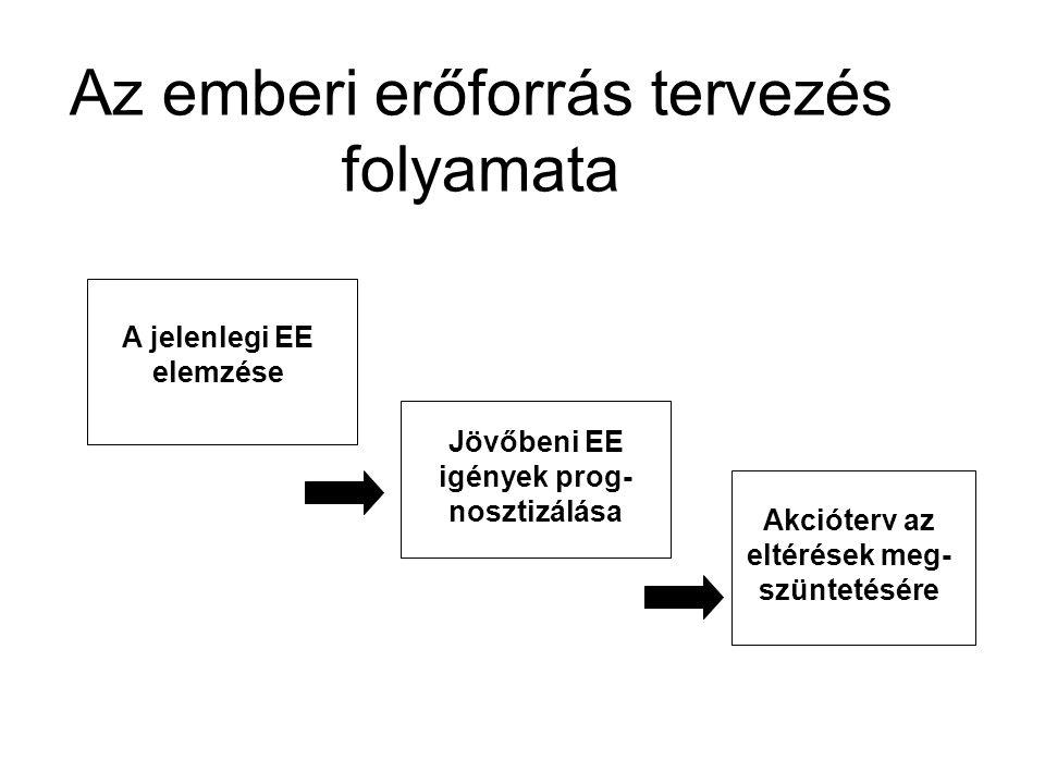 Az emberi erőforrás tervezés folyamata A jelenlegi EE elemzése Jövőbeni EE igények prog- nosztizálása Akcióterv az eltérések meg- szüntetésére