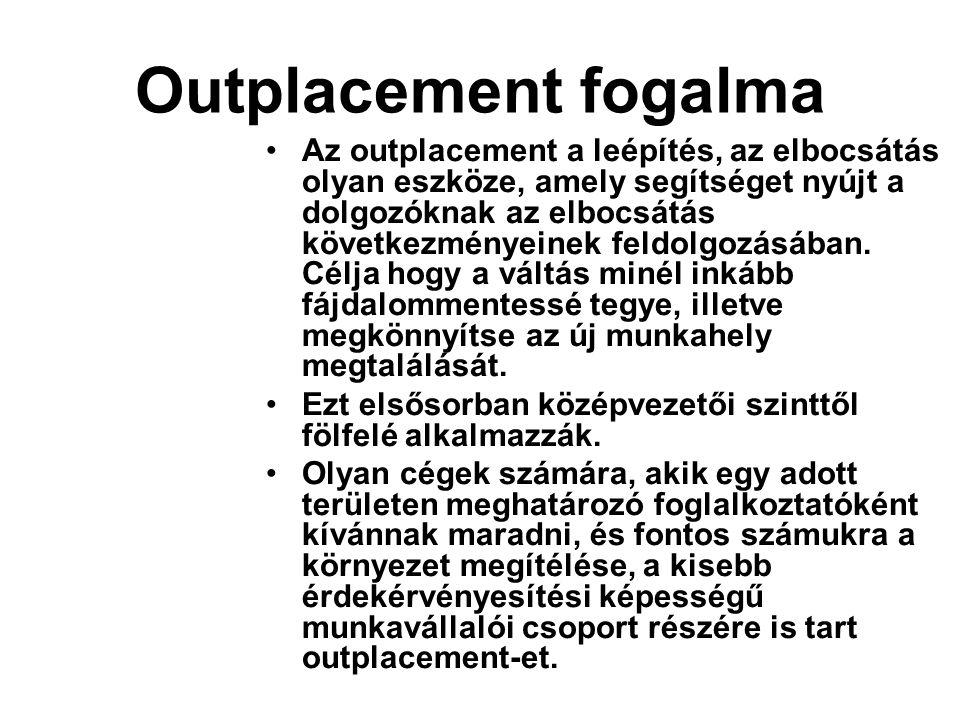 Outplacement fogalma Az outplacement a leépítés, az elbocsátás olyan eszköze, amely segítséget nyújt a dolgozóknak az elbocsátás következményeinek fel