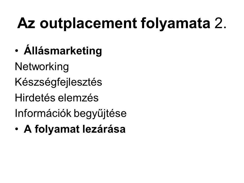 Az outplacement folyamata 2. Állásmarketing Networking Készségfejlesztés Hirdetés elemzés Információk begyűjtése A folyamat lezárása