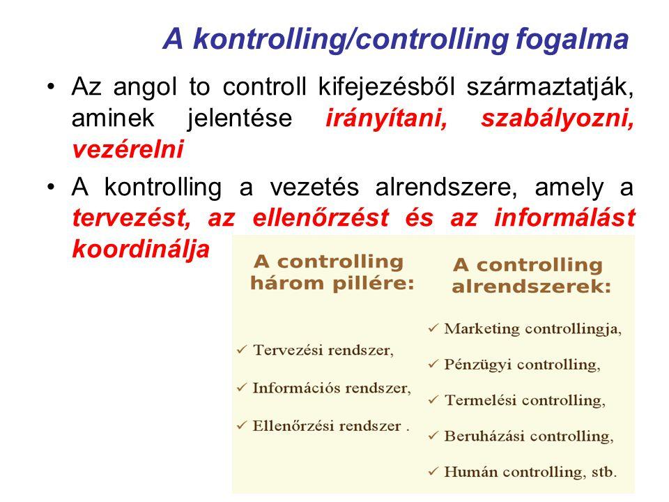 A kontrolling/controlling fogalma Az angol to controll kifejezésből származtatják, aminek jelentése irányítani, szabályozni, vezérelni A kontrolling a