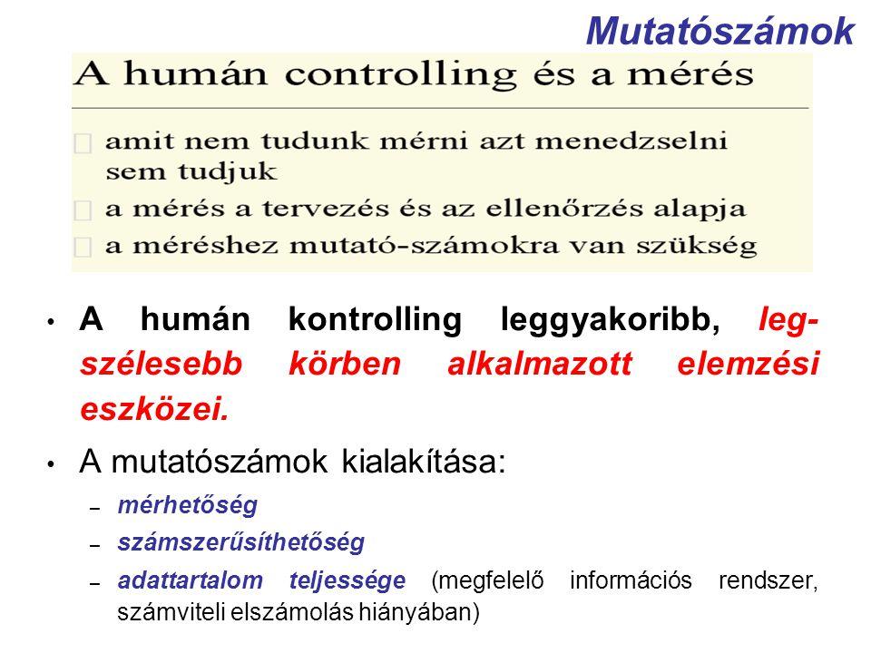 Mutatószámok A humán kontrolling leggyakoribb, leg- szélesebb körben alkalmazott elemzési eszközei. A mutatószámok kialakítása: – mérhetőség – számsze