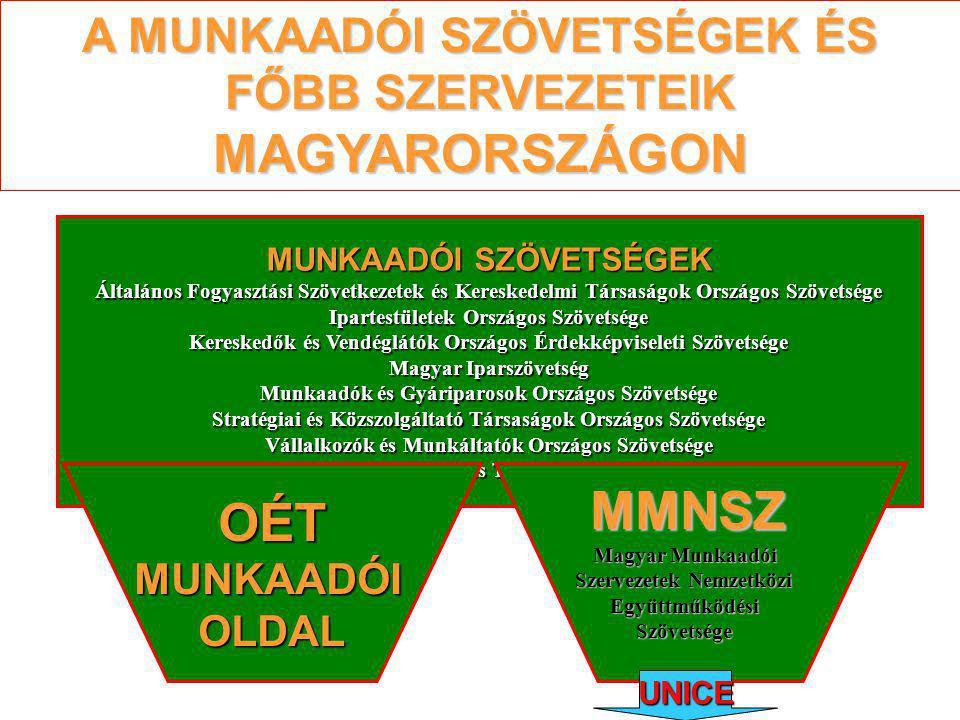 A MUNKAADÓI SZÖVETSÉGEK ÉS FŐBB SZERVEZETEIK MAGYARORSZÁGON MUNKAADÓI SZÖVETSÉGEK Általános Fogyasztási Szövetkezetek és Kereskedelmi Társaságok Országos Szövetsége Ipartestületek Országos Szövetsége Kereskedők és Vendéglátók Országos Érdekképviseleti Szövetsége Magyar Iparszövetség Munkaadók és Gyáriparosok Országos Szövetsége Stratégiai és Közszolgáltató Társaságok Országos Szövetsége Vállalkozók és Munkáltatók Országos Szövetsége Mezőgazdasági Szövetkezők és Termelők Országos Szövetsége OÉT MUNKAADÓI OLDAL MMNSZ Magyar Munkaadói Szervezetek Nemzetközi EgyüttműködésiSzövetsége UNICE