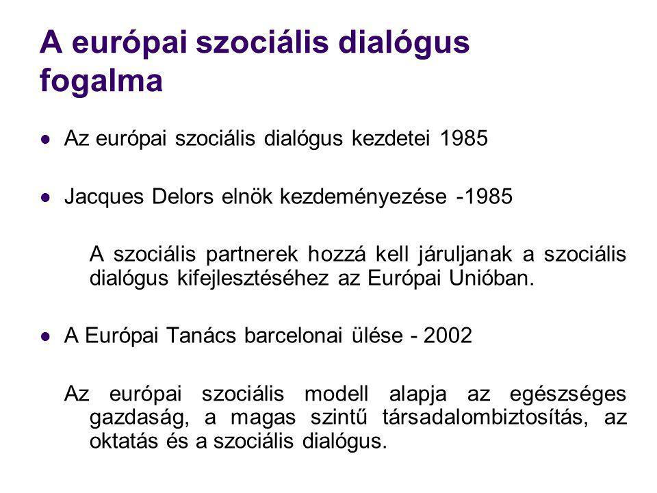 A európai szociális dialógus fogalma Az európai szociális dialógus kezdetei 1985 Jacques Delors elnök kezdeményezése -1985 A szociális partnerek hozzá kell járuljanak a szociális dialógus kifejlesztéséhez az Európai Unióban.