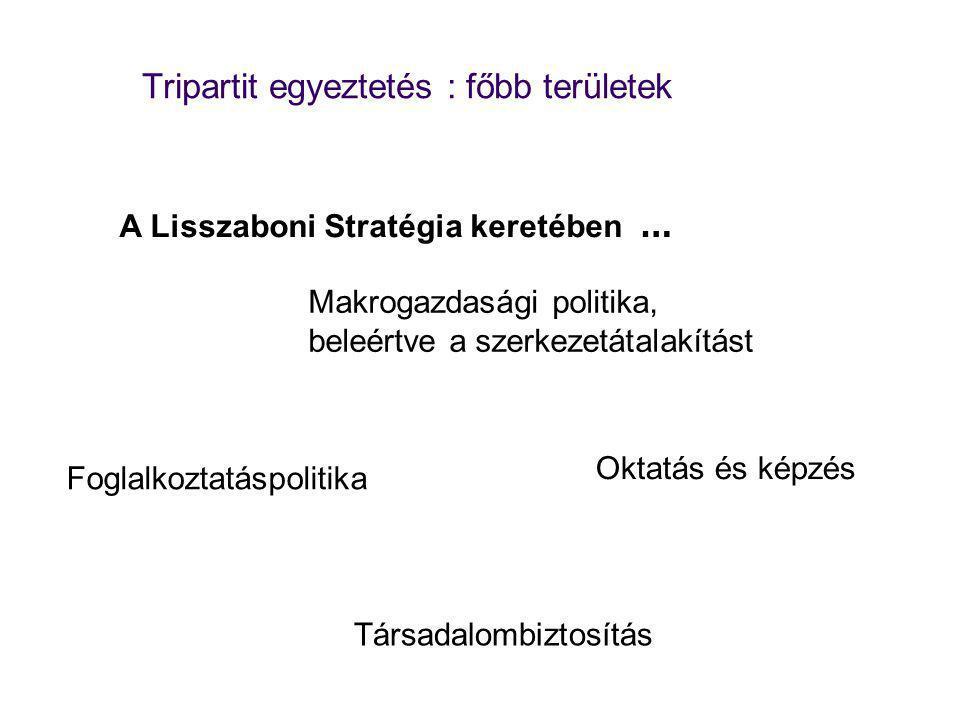 Tripartit egyeztetés : főbb területek Makrogazdasági politika, beleértve a szerkezetátalakítást Foglalkoztatáspolitika Oktatás és képzés Társadalombiztosítás A Lisszaboni Stratégia keretében …