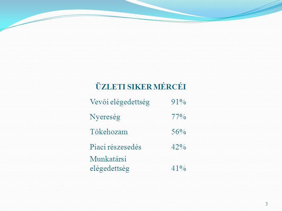 3 ÜZLETI SIKER MÉRCÉI Vevői elégedettség91% Nyereség77% Tőkehozam56% Piaci részesedés42% Munkatársi elégedettség41%